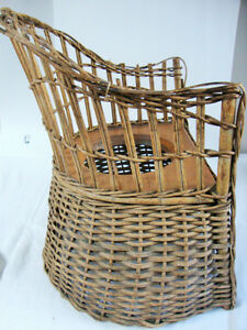 Chaise percée rotin/osier enfant Antique Child Potty Chair RARE