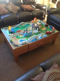 Childrens train table board and chuggington train set