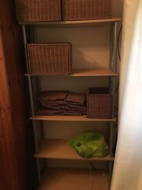 Shelves with wicker baskets