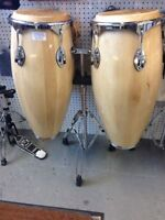 Natural Wood Professional Congas w Stand BRAND NEW & ON SALE