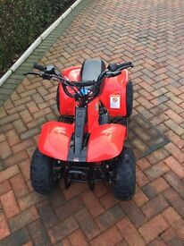 Mint condition 50cc quad with helmet, boots & outfit