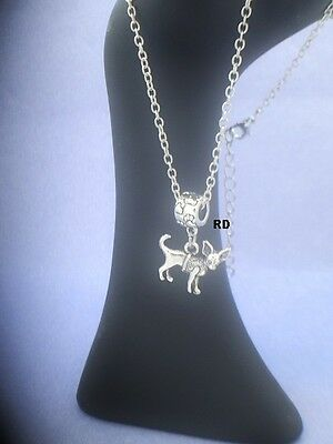 Chihuahua Dog Breed Pendant with Pawprint Slider on silver plated Necklace
