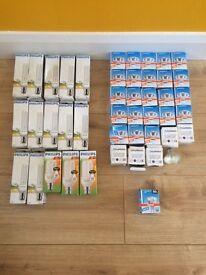 New light bulbs x 44, low energy & 50w spotlight bulbs