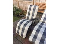 2 outside chairs and 1 lounger