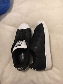 Adidas black and white shoes size 5