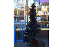 """5ft 5"""" Tall Black Christmas Tree with Fairy Lights"""