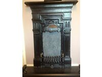 Antique Edwardian/Victorian Cast Iron Fireplace & Hearth