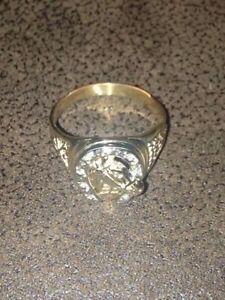100% REAL! MEN'S GOLD W/DIAMOND CRUSTED HORSESHOE RING