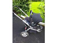 Mothercare My3 pram base & Maxi Cosi car seat and cabriofix base