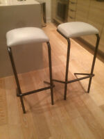 Modern Commercial Grade Bar Stools w White Leather Seat
