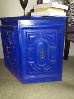 Vintage Royal Blue Side Tables