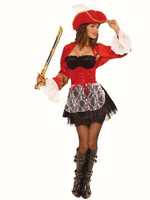 Deluxe Pirate fancy dress costume + SWORD + HAT Womens Pirate Ship Captain Ladie