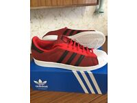 Brand new adidas superstar trainers red/ black / white size 11