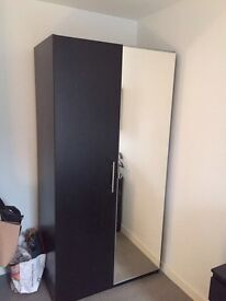 Mirrored wardrobe with two rails