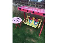 Lady bird swing and table