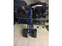 Blue golf trolley