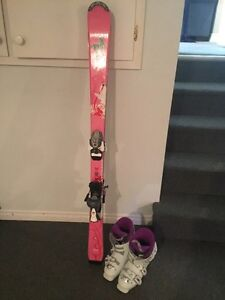 Girl's downhill skis and boots