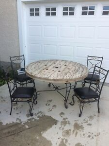 Beautiful Wrought Iron Repurposed Dining Room Set