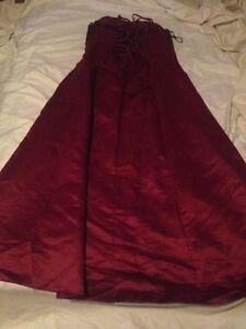 Beautiful burgundy satin full length dress corset style Size XL