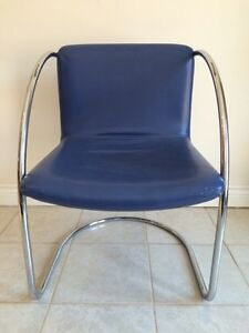 Mid Century Modern Blue Leather Cantilever Chairs