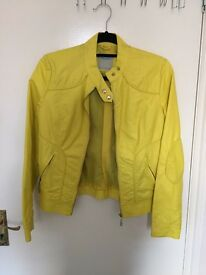 Yellow leather jacket, size S