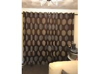 Thick brown cord lined curtains X 3 & cushions