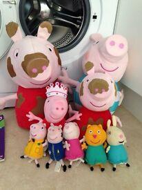 Large bundle of Peppa Pig plush toys, books, play sets & figures