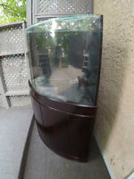 Corner Style Saltwater Aquarium 65 Gal Bow Front Glass