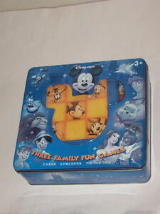 DISNEY STORE CHESS CHECKERS TIC TAC TOE 3 FAMILY FUN GAMES & TIN