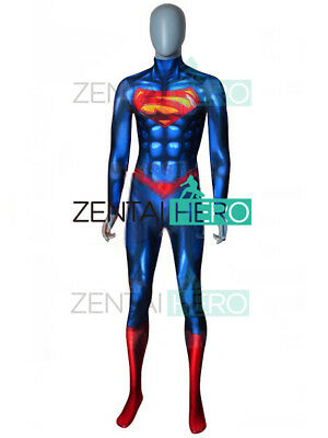 Superman Costume 3D Spandex Shiny Superman Suit Cosplay Full body For - Superman Suit For Kids
