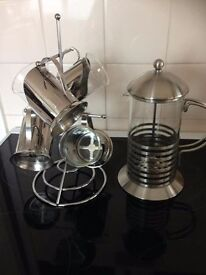 Cafetiere with Stand & Cups