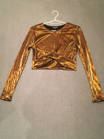 Topshop gold glittery top