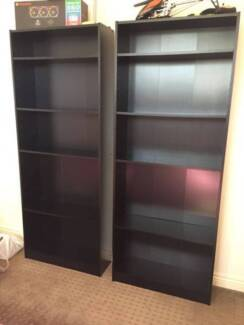 Matching Set of Two Black Bookcases