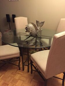 53 inch round glass dining table and four chairs