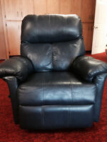 Blue Leather Recliner Lazyboy