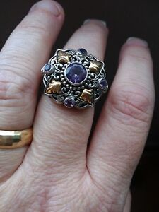 Sterling silver amethyst with 18K gold accents ring Kingston Kingston Area image 3