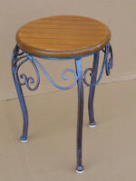 ELEGANT BLUE-BROWN STEEL STOOL OR SMALL TABLE