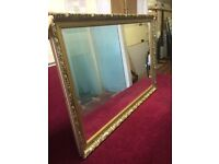 Large gold ornate Bevelled mirror