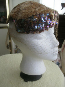 ADORABLE OLD VINTAGE [30's- 40's] LADIES SEQUINNED VEILED BONNET