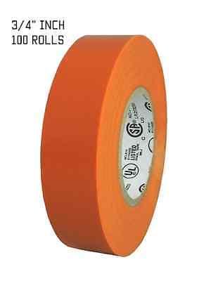 100 Rolls Orange Electrical Tape 34 X 66 Ft Full Case