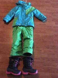 Size 4 girls snow suit and boots size 9