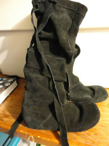 High Black Suede Boot