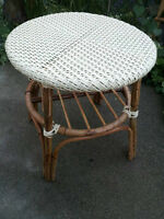 Rattan and wicker side table