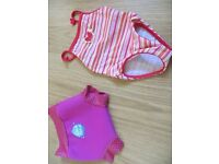 Baby girls swimming 'Happy Nappy' (reusable swim nappy) size medium 3-8 months and swimsuit 3-6 mnth