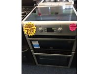 BEKO 60CM INDUCTION CEROMIC TOP ELECTRIC COOKER IN SILIVER.