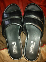 Brand New Black Leather Sandals Size 7