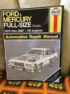 Ford Mercury Full Size repair manual by Haynes