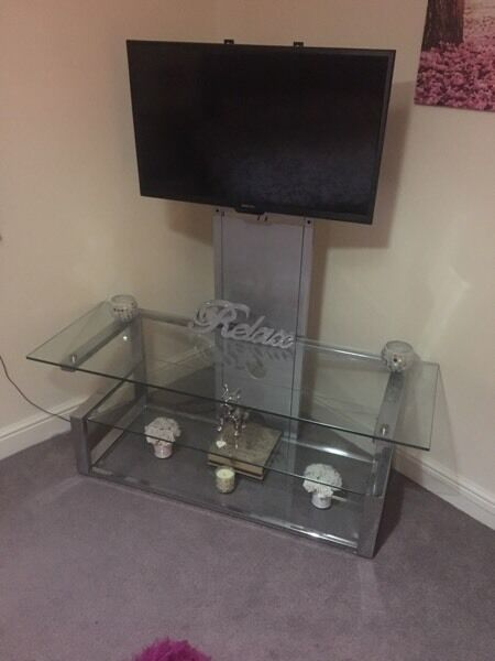 Glass and metal tv unit