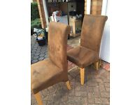 Suede leather brown dining chairs
