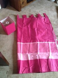 Pink curtain and light bundle, 66x66, great condition.